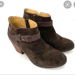 Anthro Bussola Reikaiavik Suede Ankle Boot Brown Harness Detail Block Heel 8.5